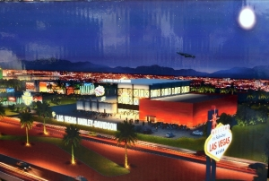 "An artist rendering of the new Las Vegas Harley-Davidson dealership near the ""Welcome to Fabulous Las Vegas"" sign on the south end of the Strip."