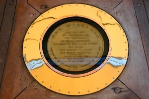 The brass marker on the deck of the USS Missouri marking the spot of the signing of the surrender of Japan that ended WWII