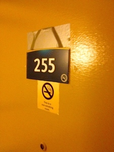 The Motel 6 door decal was duck taped over...