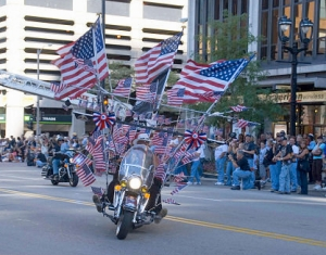 Vietnam Vet Ray Jordan of Salem, OR who decked his 2003 Road King with 105 American Flags for the 105th Anniversary.