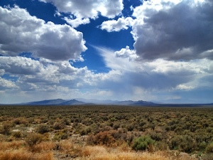 Showers roll across the desert