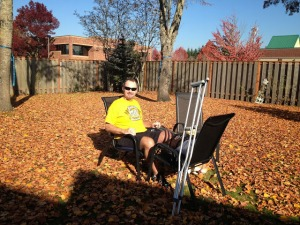 MC enjoying the fall weather at home!