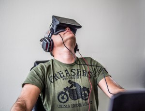 Oculus Rift, a virtual reality 3-D headset