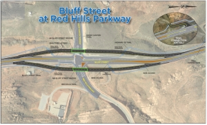 Bluff Street will now pass over Red Hills Parkway