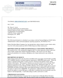FXDL Dyna Low Rider Recall Letter
